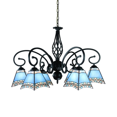 Mediterranean Style Blue Chandelier Craftsman Shade 6 Lights Glass Hanging Lamp for Restaurant