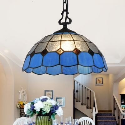 Mediterranean Style Dome Pendant Light One Light Frosted Glass Hanging Light in Blue for Hallway