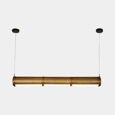 Metal Acrylic Tube Light Shop Restaurant Antique Style Brown LED Pendant Light with White/Yellow Lighting
