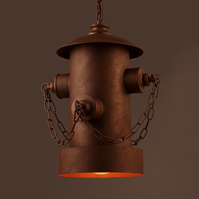 Metal Fire Hydrant Hanging Lamp Cafe 1 Light Vintage Suspension Light in Blue/Red/Rust/Yellow
