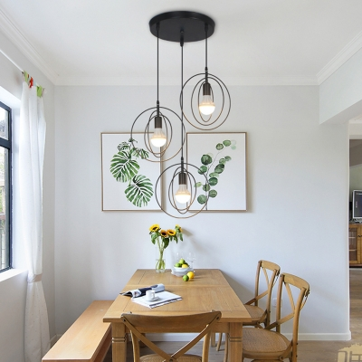Metal Ring Ceiling Light Dining Room 3 Lights Industrial Linear/Round