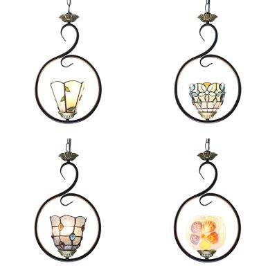 Metal Ring Hanging Light Living Room 1 Light 9.5 Inch Tiffany Style Suspension Light