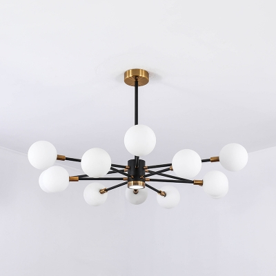Modern Style Hanging Light with Orb Shade 10/12/16 Lights Clear/Opal Glass Chandelier for Bedroom