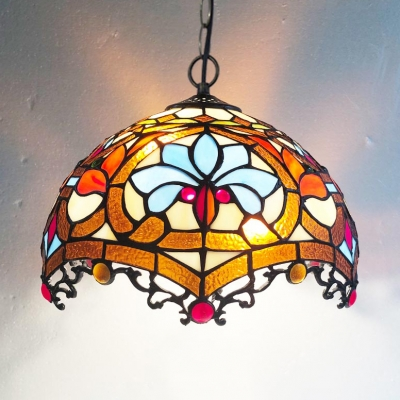 Multi Color Domed Ceiling Pendant with Lotus Tiffany Vintage Glass Handmade Hanging Lamp for Bar