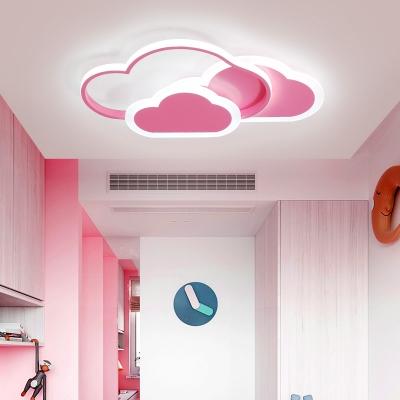 Pink/White Cloud LED Flush Light Lovely Aluminum Ceiling Light in Warm/White for Kindergarten