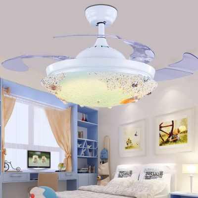 Shell Dome Semi Flush Ceiling Light Modern Remote Control Frequency Conversion LED Ceiling Light in White for Living Room