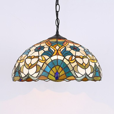 Stained Glass Bowl Shade Pendant Light Study Room 1 Light Tiffany Style Vintage Ceiling Light