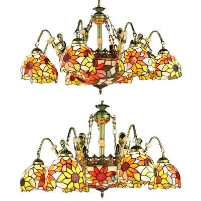 Stained Glass Dome Chandelier Living Room 9/11 Lights Tiffany Style Antique Hanging Lamp