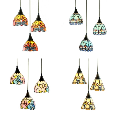 Stained Glass Dome Pendant Light Living Room 3 Lights Tiffany Rustic Ceiling Pendant with Aged Brass Canopy