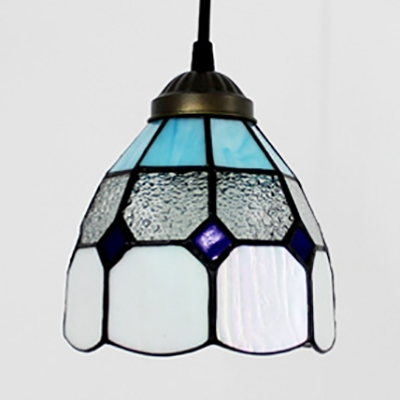 Tiffany Style Blue/Yellow Pendant Light Gird Dome Shade 1 Light Ceiling Light for Bathroom