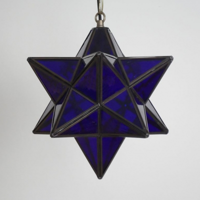 Tiffany Style Creative Star Hanging Light One Light Glass Ceiling Light for Living Room