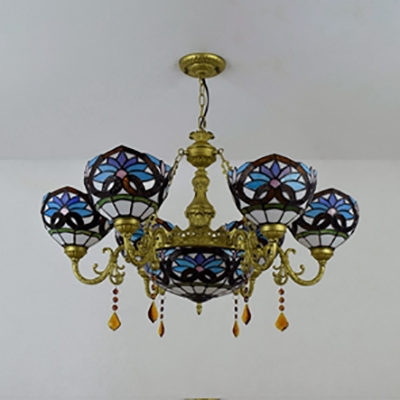 Victorian Style Dome Chandelier Stained Glass 7 Lights Suspension Light with Crystal for Bar