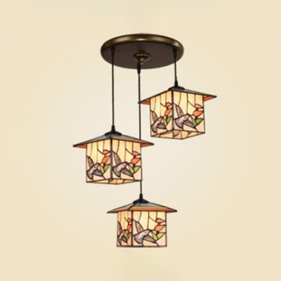Vintage Style Lodge Hanging Light with Bird 3 Lights Stained Glass Hanging Lamp for Kid Bedroom