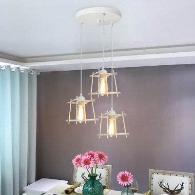 Wire Frame Pendant Light with Round Canopy 3 Lights Industrial Hanging Light in Black/White