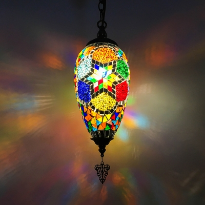 1/3 Pack Moroccan Teardrop Hanging Light Glass 1 Light Colorful Pendant Light for Dining Table(not Specified We will be Random Shipments)