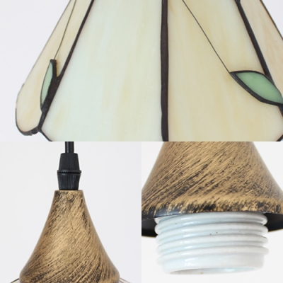 1 Light Conical Hanging Light Traditional 8 Inch Glass Pendant Light with Green Leaf for Kitchen