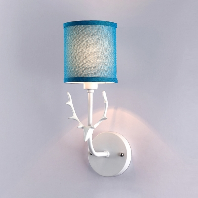 1 Light Cylinder Wall Light Contemporary Metal Fabric Wall Sconce with Deer in Blue/White for Bedroom