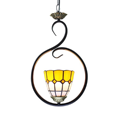 1 Light Dome Pendant Light with Ring Antique Style Suspension Light in Dark Blue/Sky Blue/Yellow for Balcony