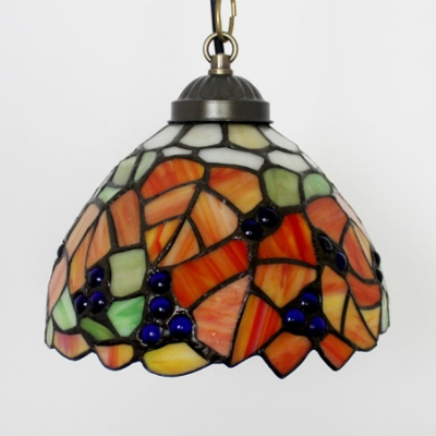 1 Light Leaf Pendant Lamp Rustic Style Stained Glass Hanging Light in Orange for Restaurant