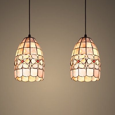 2 Lights Grid Shade Hanging Light Tiffany Rustic Shell Pendant Light in Beige for Living Room
