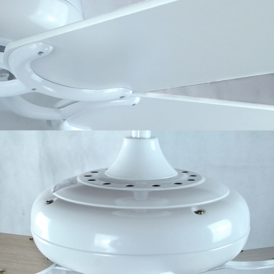 42 Inch Wood LED Ceiling Mount Light 3/4/5 Lights Tiffany Stylish Ceiling Fan in White for Restaurant