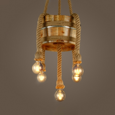 Restaurant Bare Bulb Chandelier with Barrel Hemp Rope Wood Rustic Style Beige Pendant Light HL534221 фото