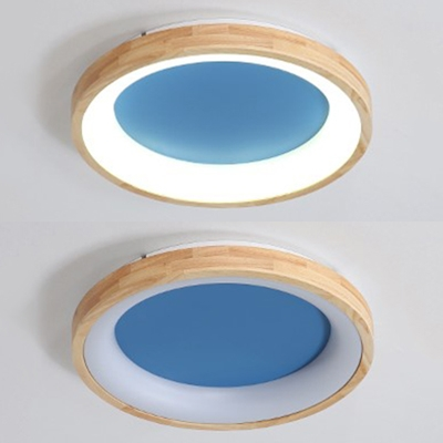 Wood Round Semi Flush Mount Light Living Room Simple Style Ceiling Lamp in Blue/Gray/Green/White