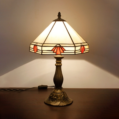 Bedroom Tent Shade Desk Light Glass Resin 1 Head Traditional Tiffany White Table Lamp with Plug-In Cord