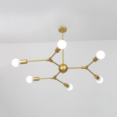 Modern Style Gold Chandelier Snowflake 3/6 Lights Metal Hanging Light for Living Room Villa