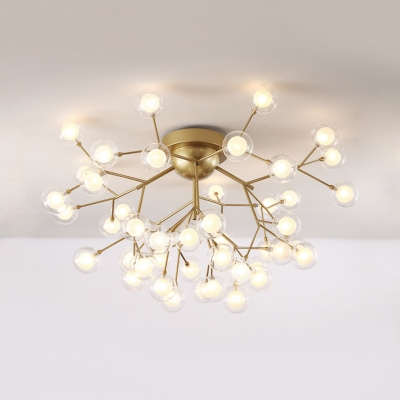 Modo Living Room Semi Flush Mount Light Glass 15/27/36/45 Lights Elegant Ceiling Light in Gold