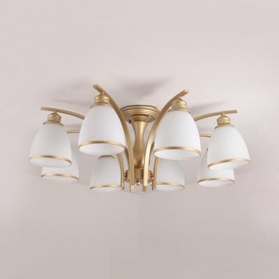 6/8/10 Lights Bell Ceiling Light Antique Metal Semi Flush Mount Light in Black/Gold for Hotel