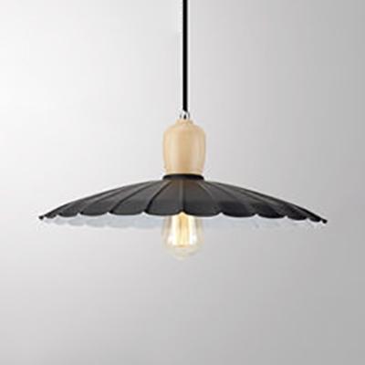 Antique Scalloped Edged Suspension Light Metal 1 Light Black/Black & White/White Ceiling Pendant for Foyer