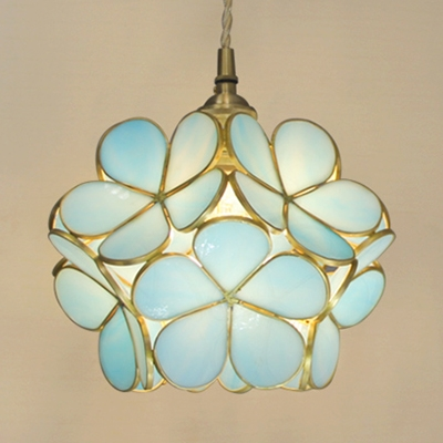 Beautiful Flower Pendant Light Beautiful Blue/Clear/Sky Blue/Pink Glass Hanging Lamp for Girl Bedroom