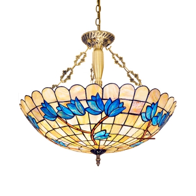Beige Dome Shade Pendant Light 4 Lights Antique Style Stained Glass Chandelier for Living Room