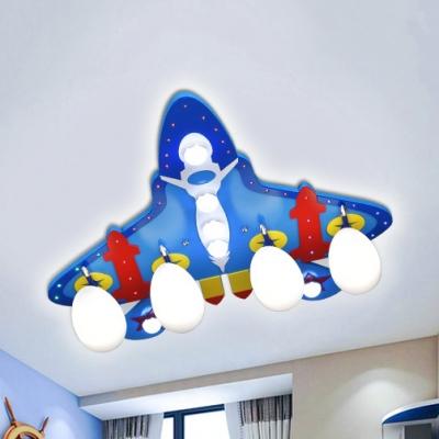 Blue Airplane Flush Ceiling Light Cartoon Metal Eye-Caring Ceiling