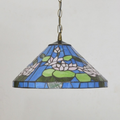 Blue Cone Suspension Light with Lotus Tiffany Antique Stained Glass Hanging Light for Bedroom
