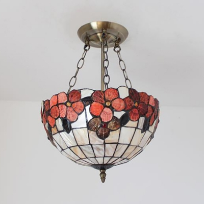 Bowl Shade Restaurant Chandelier Stained Glass Tiffany Style Rustic Pendant Light with Flower