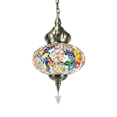 Cafe Star Pattern Hanging Light Pack of 1/4 Stained Glass 1 Light Mosaic Pendant Light(not Specified We will be Random Shipments)