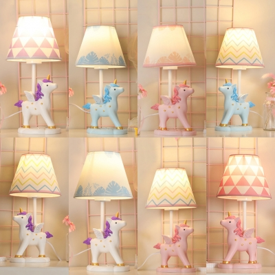 Cartoon Unicorn LED Desk Light 1 Light Resin Reading Lamp with Plug In Cord for Girl Bedroom