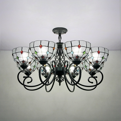 Dome Living Room Chandelier Glass Metal 8 Lights Traditional Pendant