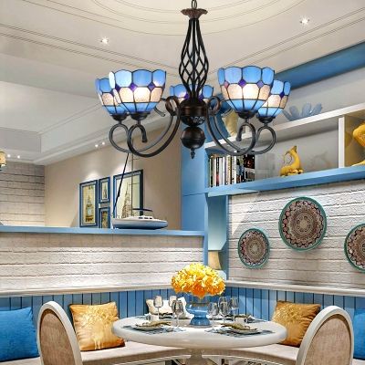 Domed Shade Bedroom Chandelier Art Glass 5 Lights Mediterranean Style Hanging Lamp in Blue