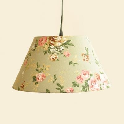 Fabric Flower/Letter Pendant Light 1 Light Antique Hanging Lamp in Beige/Green for Bedroom