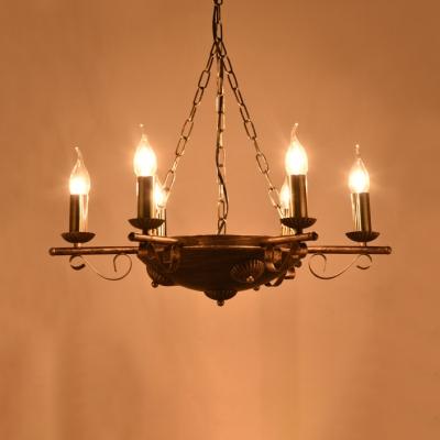 Brass Candle Shape Chandelier 6/9/12 Lights Retro Loft Metal Pendant Lamp for Living Room