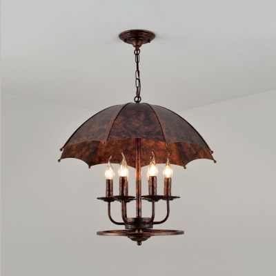 Metal Candle Pendant Light with Umbrella Shade 6 Lights Antique Chandelier in Rust for Bar