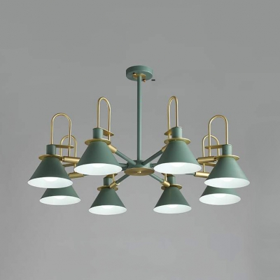 Metal Conical Chandelier 3/6/8 Lights Contemporary Hanging Light in Gray/Green/White for Foyer