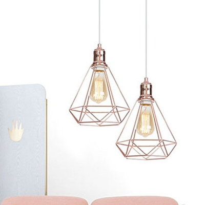 Metal Diamond Ceiling Light 1 Light Rustic Height Adjustable Suspension Light in Rose Gold for Balcony
