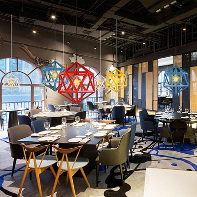 Metal Polyhedron Suspension Light Cafe Restaurant 1 Light Industrial Pendant Lamp in Blue/Red/White/Yellow