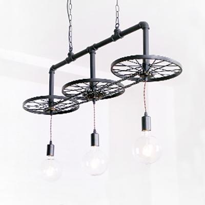 Metal Wheel Pendant Light Dining Room 3 Lights Industrial Suspension Light in Black