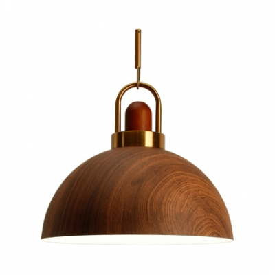 One Light Grain Shade Pendant Light Rustic Stylish Wood Pendant Lamp in Brown for Living Room