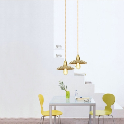 Scalloped Edge/Slim Circle Hanging Light Metal 1 Light Antique Style Pendant Light for Cafe